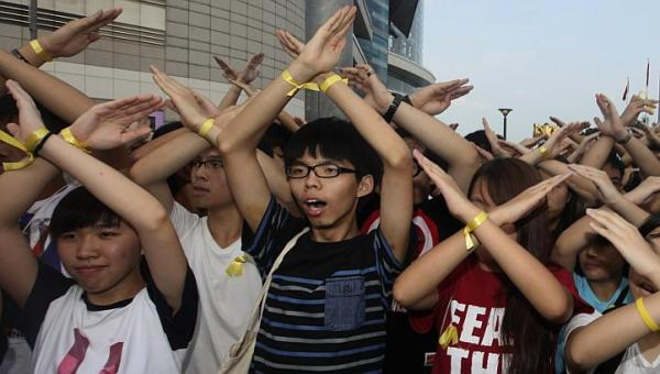 And here's what it looks like in Hong Kong (Joshua Wong in center)…