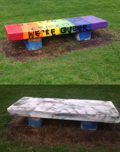 wheaton gay pride bench