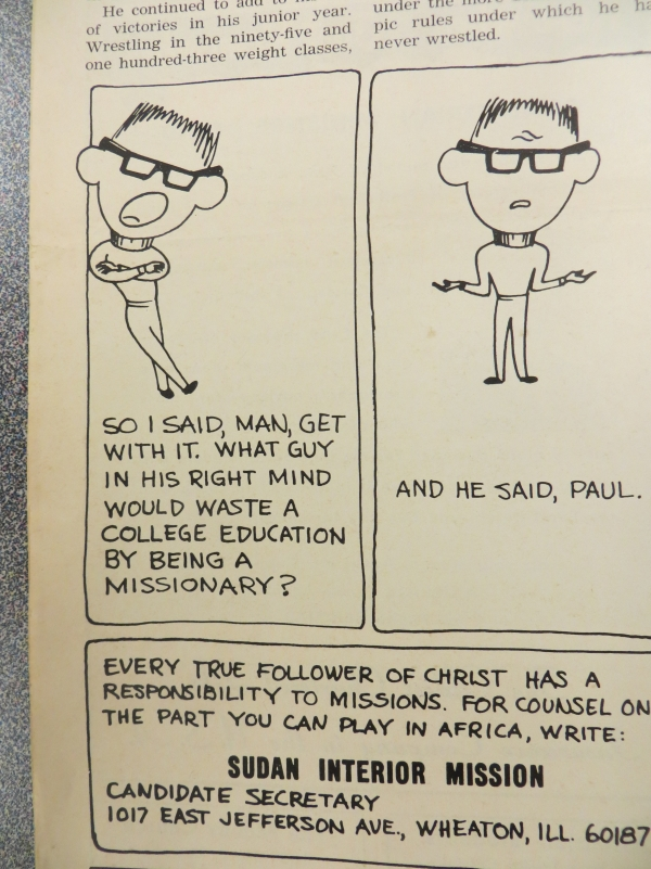 missionary cartoon ad