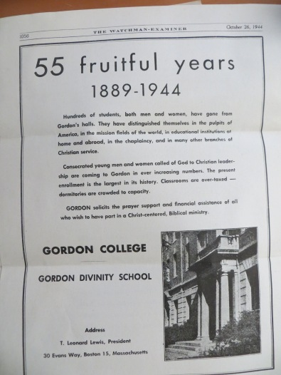 Gordon 1944 ad for donations in Watchman Examiner